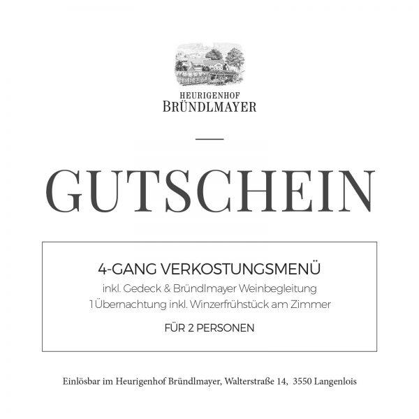4-Gang Verkostungsmenü, inkl. Gedeck & Bründlmayer Weinbegleitung, 1Übernachtung inkl. Winzerfrühstück am Zimmer, für 2 Personen